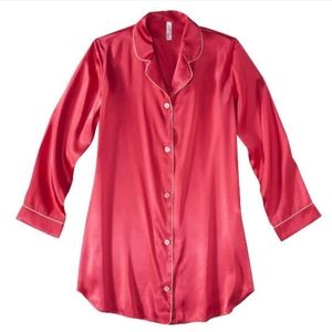 Red satin button down sleep shirt